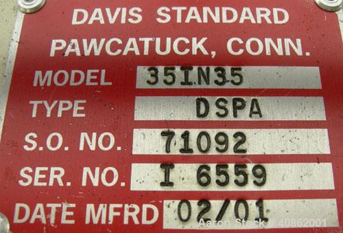 "Used- Davis Standard 3 1/2"" Thermatic Single Screw Extruder, Model 35IN35, Type DSPA. 30 to 1 L/D ratio. Electrically heated..."
