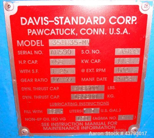 "Used- Davis Standard Mark V 3-1/2"" Single Screw Extruder, Model 35IN35, Type DSPA. SO# 76499. Approximate 30 to 1 L/D ratio...."