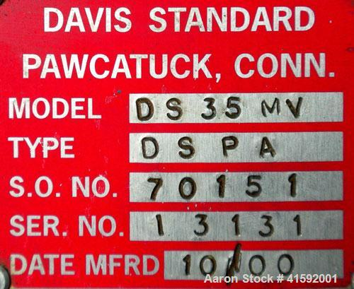 """Used- Davis Standard 3-1/2"""" Single Screw Extruder, Model 3.5MV-350. 30 to 1 L/D ratio. Electrically heated, air cooled 5 zon..."""
