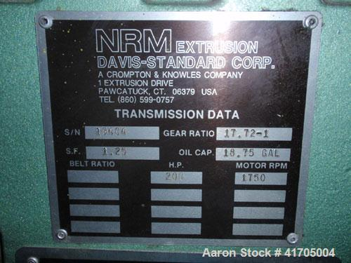 "Used- Davis Standard / NRM 4-1/2"" Single Screw Extruder, Model 4.5 PM III. 32 to 1 L/D ratio, electrically heated, water coo..."