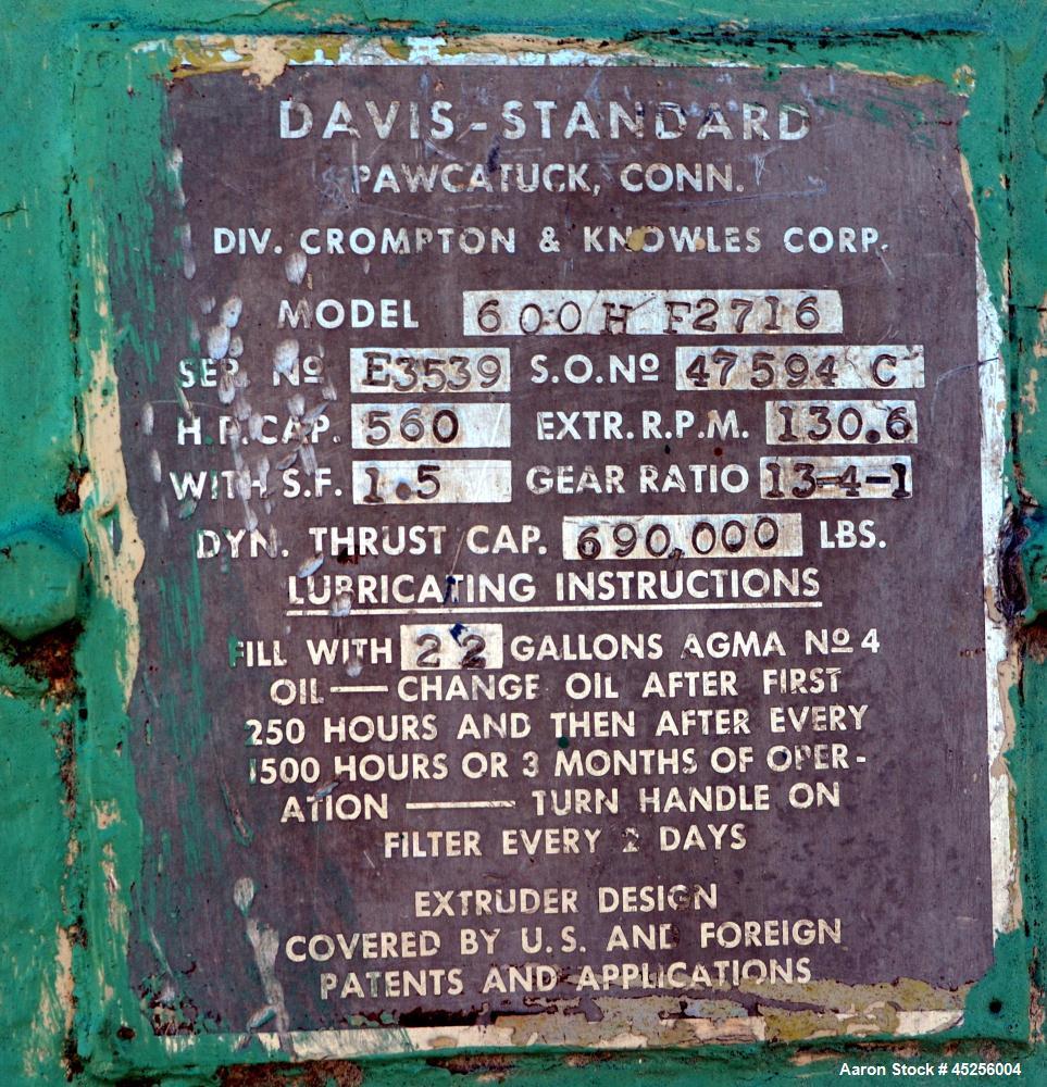 "Used- Davis Standard 6"" Thermatic Single Screw Extruder, Model 600H-F2716"