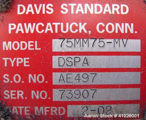 "Used- Davis Standard 3"" Single Screw Extruder, Model 75MM75MV MFG 2002, Approximate 30:1 L/D ratio. Electrically heated, air..."