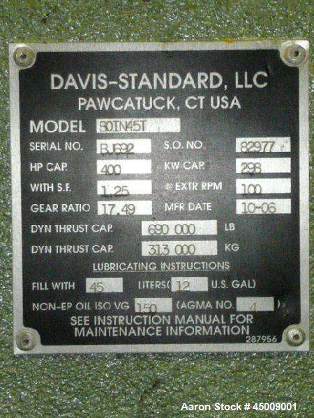 "Used- Davis Standard 8"" Thermatic Single Screw Extruder, Model 80IN45T"