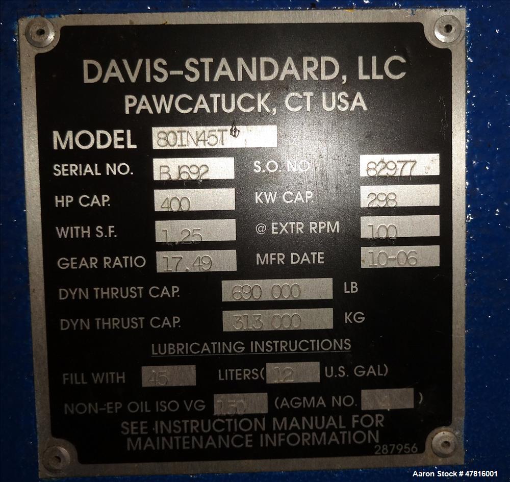 "Used- Davis Standard Model 80IN45T, 8"" Thermatic Single Screw Extruder"