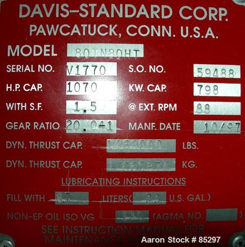 """USED: Davis Standard 8"""" (200mm) Single Screw Extruder, model 80TN-80HT. 30:1 L/D ratio. Electrically heated, water cooled 6 ..."""