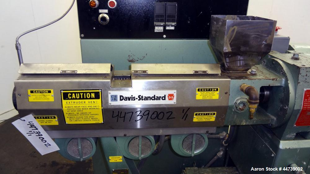 "Used- Davis Standard 1-1/4"" Single Screw Extruder, Model DS-12-HM. Approximate 24 to 1 L/D Ratio. Electrically heated, air c..."
