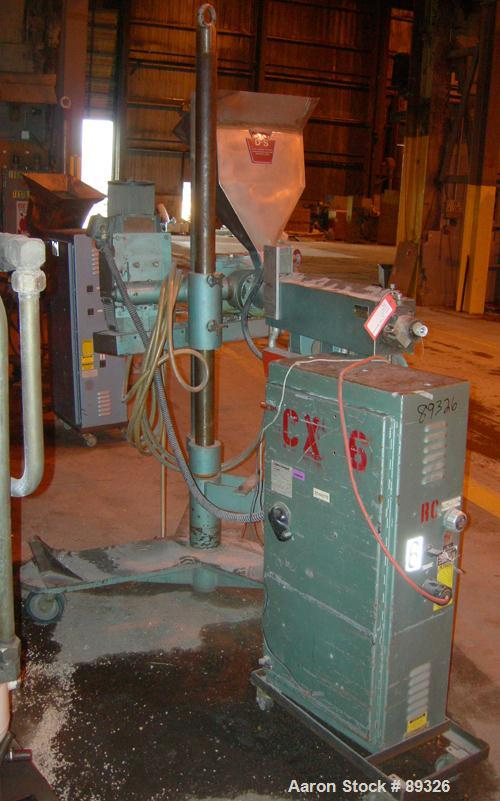 """USED: Davis Standard 1.25"""" pedestal mounted single screw extruder, model DS1.25, approximate 24:1 L/D ratio. Electrically he..."""