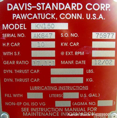 "Used- Davis Standard 1 1/2"" Single Screw Extruder, Model KN150. Approximate 24:1 L/D ratio. Electrically heated, air cooled ..."