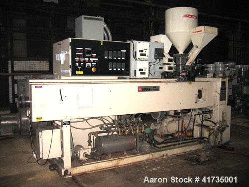 """Used- Davis Standard/NRM 3-1/2"""" Single Screw Extruder, Model PM III.32 to 1 L/D ratio. Electrically heated, water cooled5 ..."""