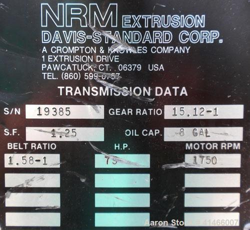 """Used- Davis Standard-NRM  3-1/2"""" Single Screw Extruder, Model PM IV. 24 to 1 L/D ratio. Electrically heated, water cooled 4 ..."""