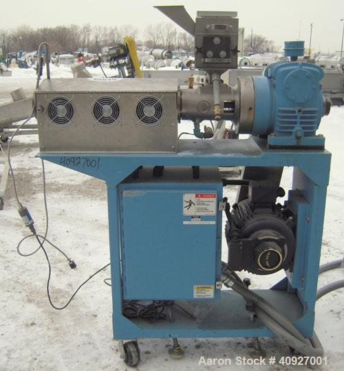 "Used- Genca Single Screw Extruder, Model EB 100245HF2001WE9179, 1"" Screw diameter approximate 28:1 L/D ratio, electrically h..."