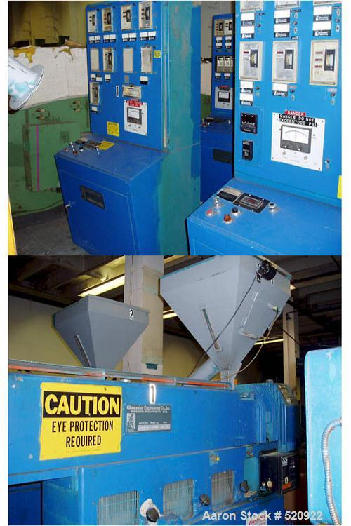 """USED: Gloucester 2.5"""" air cooled 24:1 L/D extruder on highboy base, can easily be lowered for lowboy design. With Reliance 5..."""