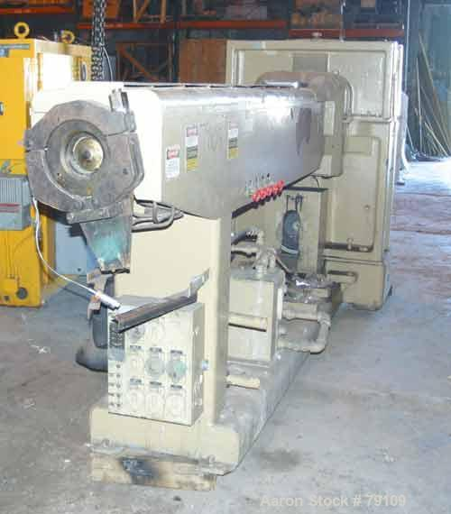 """Used- HPM 4-1/2"""" Single Screw Extruder, Model TM-60-45-24. 24:1 L/D ratio. Non-vented 5 zone barrel. Electrically heated, wa..."""