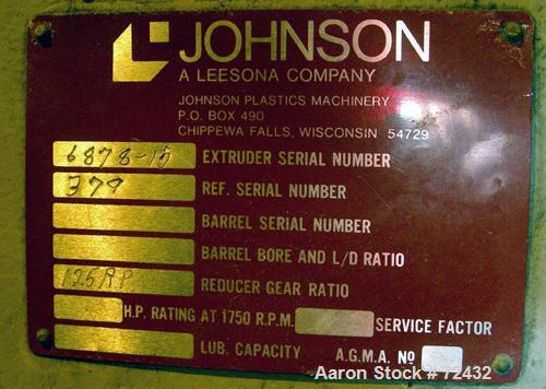 "Used- Johnson 2.5"" Single Screw Extruder, approximately 24:1 L/D ratio. Electrically heated, water cooled, with a closed loo..."
