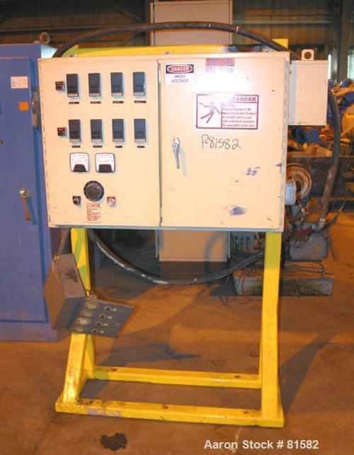 """USED: Johnson 3-1/2"""" single screw extruder, 24:1 L/D ratio. Electrically heated, air cooled. 4 zone top vented barrel. Water..."""