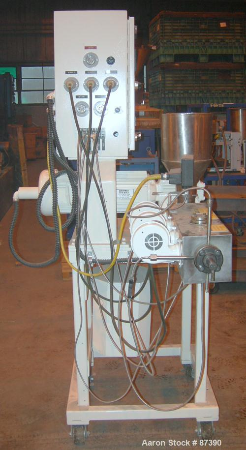 """USED: Killion 1"""" screw diameter single screw extruder, model KLB-100. 24:1 L/D ratio. Electrically heated, air cooled, 3 zon..."""
