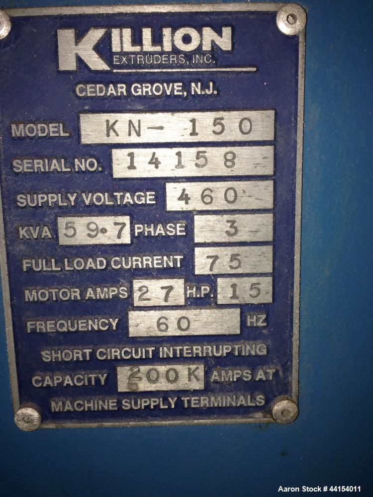 """Used- Killion 1-1/2"""" Single Screw Extruder, Model KN-150"""