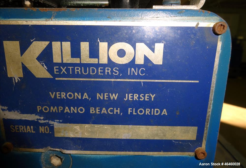 """Used- Killian 1.25"""" Single Screw Extruder. Approximate 24 to 1 L/D ratio, electrically heated air cooled 3 zone top vented b..."""