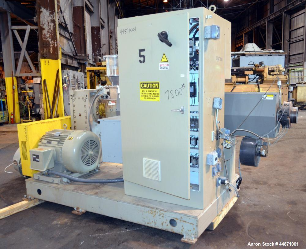 """Used- American Kuhne 3-1/2"""" Single Screw Extruder, Model AK 350 24:1 A/C EXT.  Approximately 24 to 1 L/D ratio. Electrically..."""