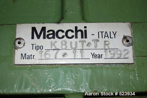 USED: Macchi 60mm single screw extruder, type K8UT-TR. Driven by a 74.5 kW motor. Includes 2 dose units. Excludes control pa...