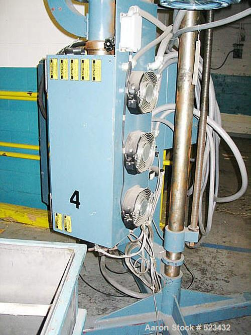 """USED: Merrit Davis 1.5"""" diameter pedestal extruder, 24:1 L/D ratio, air cooled, 17.1 gearboxes, 10 hp AC drive variable spee..."""