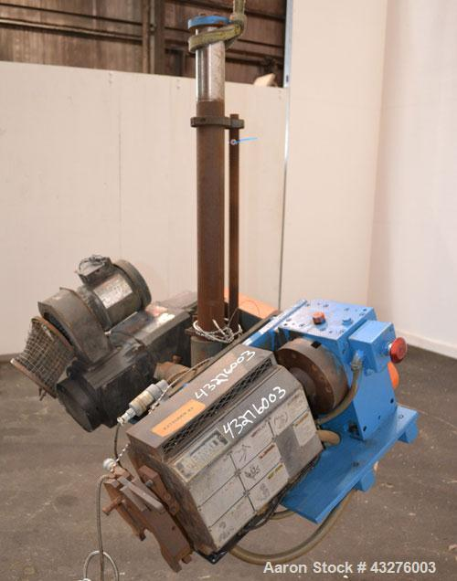 """Used- Merritt Davis ¾"""" Pedestal Mounted Single Screw Co-Extruder. Approximate 24 to 1 L/D ratio. Electrically heated, air co..."""