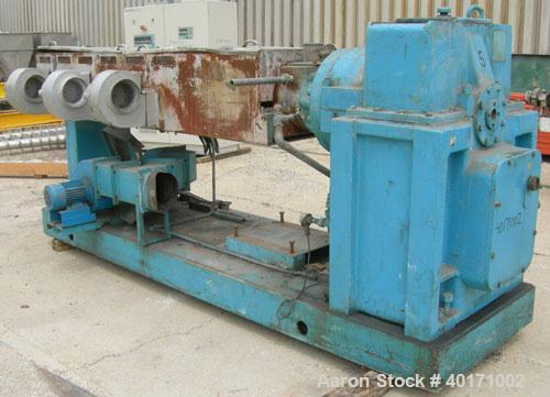 """Used- Midland Ross 4 1/2"""" Single Screw Extruder, model 45MHT24. 24:1 L/D ratio. 3 zone air cooled, electrically heated, wate..."""