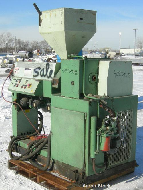 """Used- Single Screw Extruder, approximate 2"""" diameter screw, approximate 24 to 1 L/D ratio. Electrically heated, air cooled 3..."""