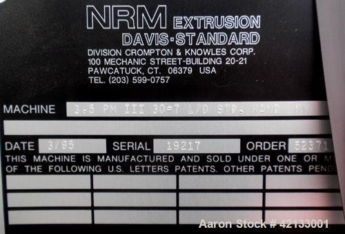 "Used- NRM/Davis Standard 3-1/2"" Single Screw Extruder, Model 3.5 PM III"