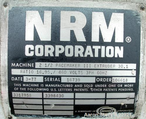 "USED: NRM 2-1/2"" single screw extruder, model Pacemaker III. Approx 30:1 L/D ratio, requires screw. Electrically heated, wat..."