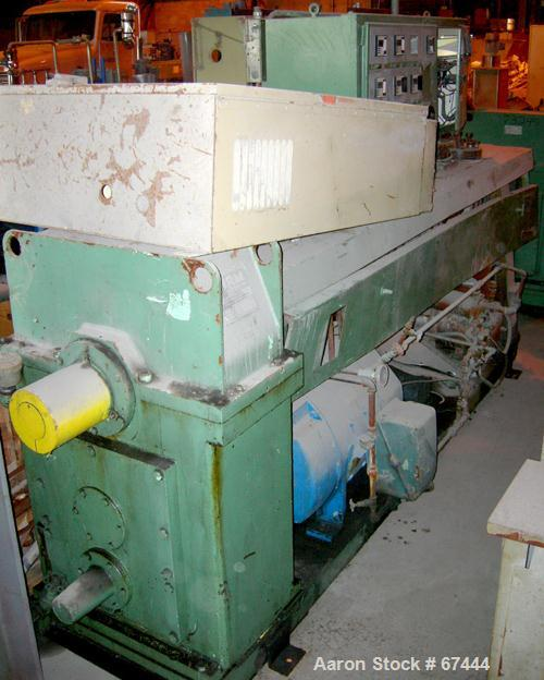 """USED: NRM 4-1/2"""" single screw extruder, model PM70. 24:1 L/D ratio. Approximate 6 zone top vented barrel, electrically heate..."""