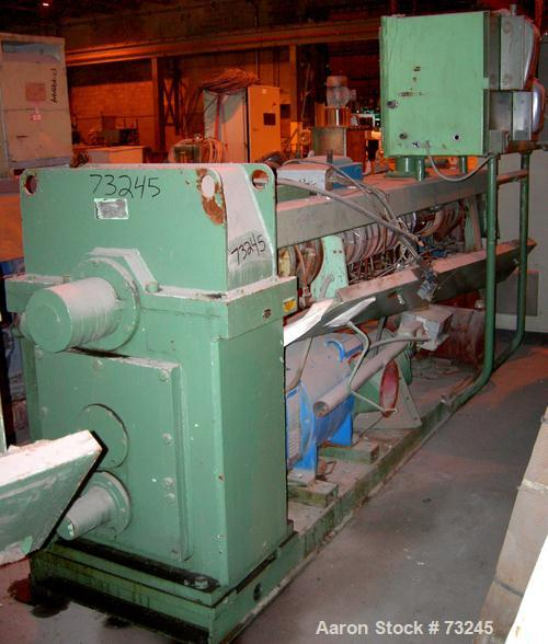"""USED: NRM 4-1/2"""" single screw extruder, model PM70. 24:1 L/D ratio. Approx 6 zone top vented barrel, electrically heated, wa..."""