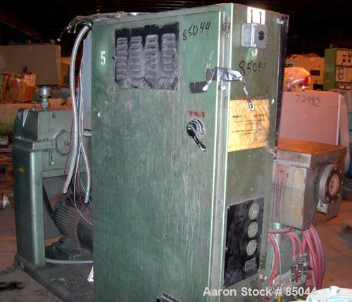 """USED: NRM Pacemaker III 2.5"""" single screw extruder, model PMIII. Approx 24:1 L/D ratio. Electrically heated, air cooled 4 zo..."""