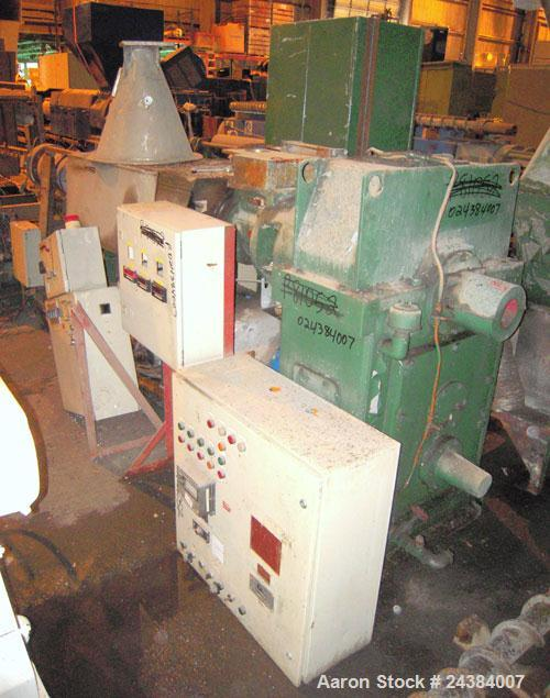 "Used- NRM/Bridge 4-1/2"" single screw extruder, 30:1 L/D ratio. 6 zone, non-vented barrel. Electrically heated, water cooled ..."