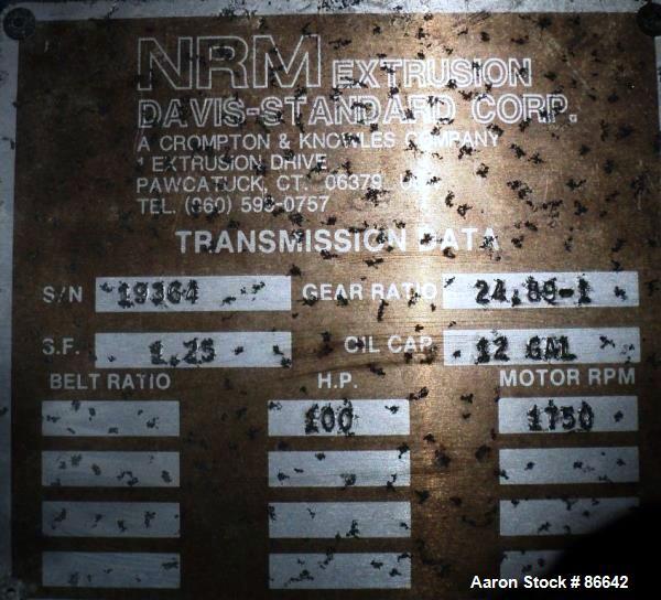 "Used- NRM Davis Standard 3-1/2"" Diameter Single Screw Extruder"