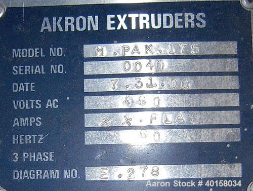 """Used- Akron 1 3/4"""" Single Screw Extruder, Model M-PAK175, approximately 24 to 1 L/D ratio. Electrically heated, air cooled 3..."""