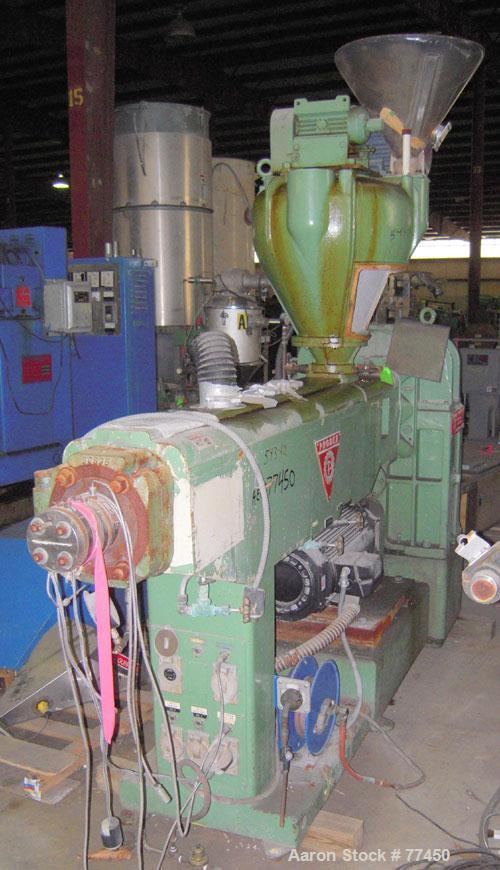 "Used- Prodex 2-1/2"" Single Screw Extruder, Model T250-24. 24 to 1 L/D ratio. Electrically heated, water cooled vented and pl..."
