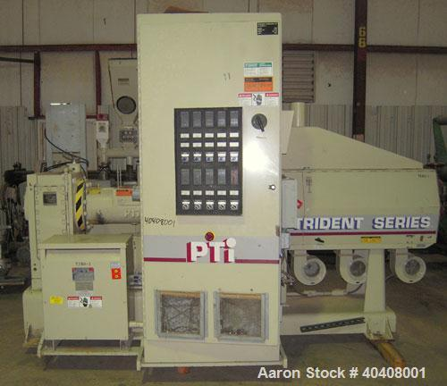 "Used- PTI 3.5"" Trident Series Single Screw Extruder, Model 3500. Approximate 30 to 1 L/D ratio. 5 zone electrically heated, ..."