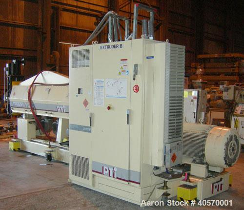 "Used- PTI  5"" Trident Series Single Screw Extruder, Model 5000. Approximate 28 to 1 L/D ratio. 5 zone electrically heated, a..."