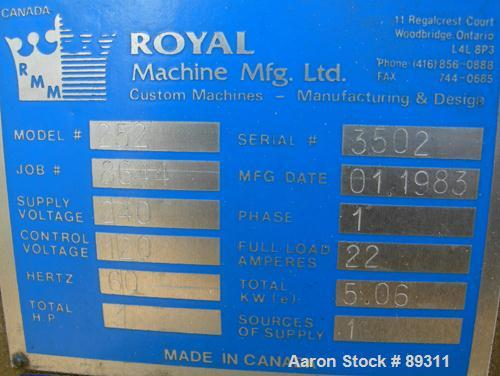 "Used- Royal Machine 1.25"" Pedestal Mounted Single Screw Extruder, Model 252.25. Approximate 12:1 L/D ratio, electrically hea..."