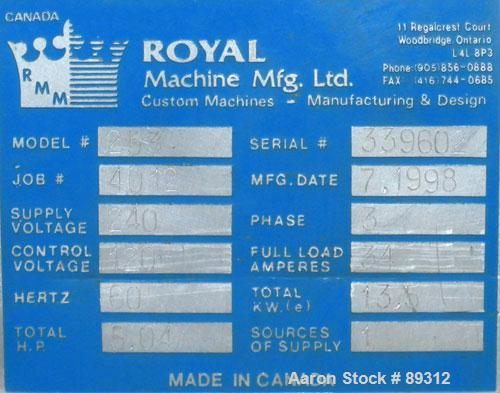 "Used- Royal Machine 1.25"" Parts Machine Pedestal Mounted Single Screw Extruder, Model 253. Approximate 24:1 L/D ratio, elect..."