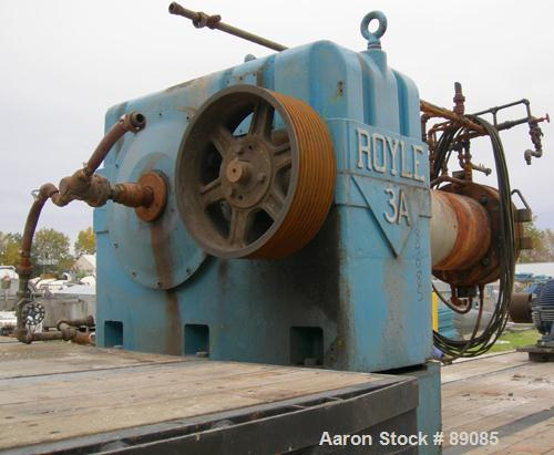 "Used- Royal 10"" Single Screw Dump Extruder, Approximate 6 to 1 L/D ratio, cored screw, (2) zone jacketed barrel. 11"" x 12"" j..."