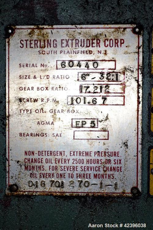 "Used- Sterling 6"" Diameter Single Screw Extruder"