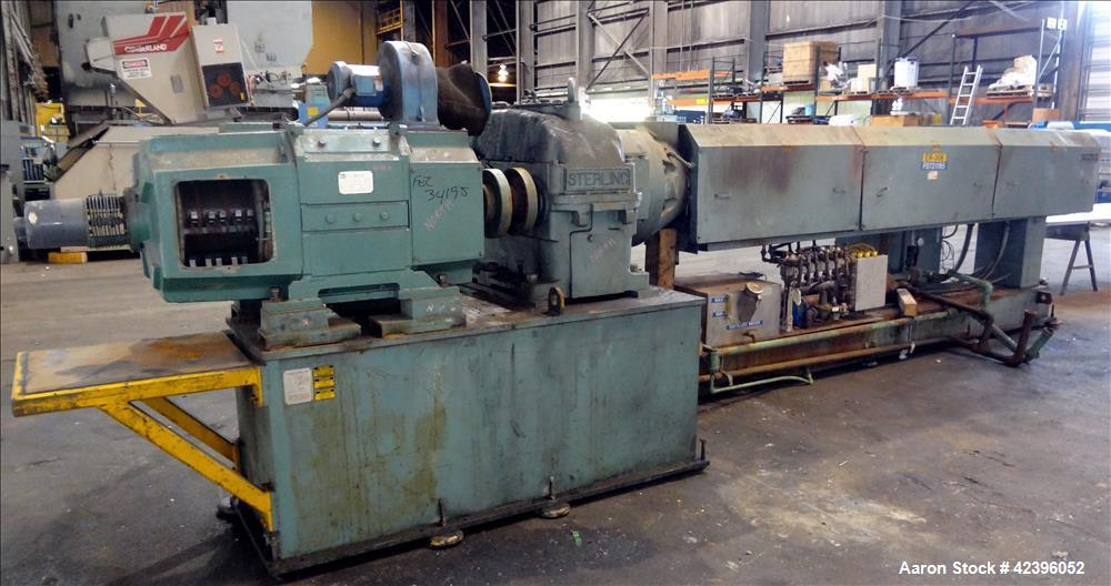 "Used- Sterling 6"" extruder, 32:1 L/D, electrically heated, water cooled barrel with circulation system, jacketed feed sectio..."