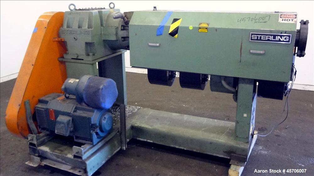 "Used- Sterling 2.5"" Single Screw Extruder. 24 to 1 L/D Ratio. Electrically heated, air cooled 4 zone non-vented barrel. Wate..."