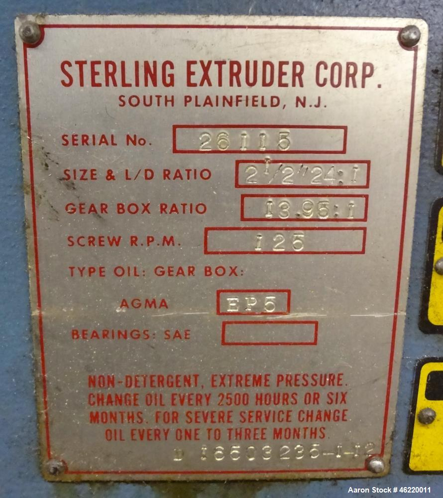 "Used- Sterling 2.5"" Single Screw Extruder, 24:1 L/D Ratio (NO SCREW). Electrically heated, water and air cooled 4 zone non-v..."
