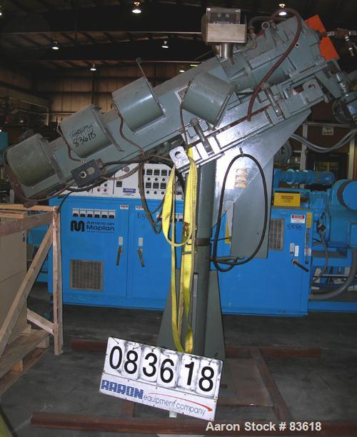 """USED: Sterling pedestal mount 2"""" single screw extruder. Approximate30:1 L/D ratio. Electrically heated, air cooled 4 zone no..."""