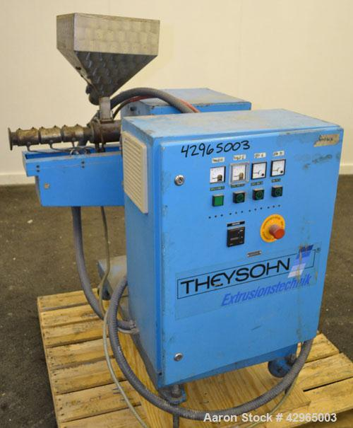 Used- Theysohn 3/4'' Single Screw Co-Extruder. Approximate 20 to 1 L/D ratio. Electrically heated, air cooled 3 zone non-ven...