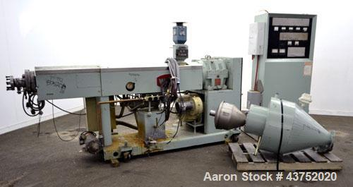 "Used- Welex 2-1/2"" Single Screw Extruder. Approximate 30 to 1 L/D ratio. Non-vented 4 zone barrel, electrically heated, wate..."