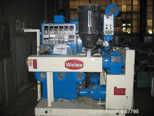 "Used- Welex 2"" Single Screw Extruder, Model 5785. Approximate 24:1 L/D ratio, electrically heated, air cooled 4 zone barrel...."